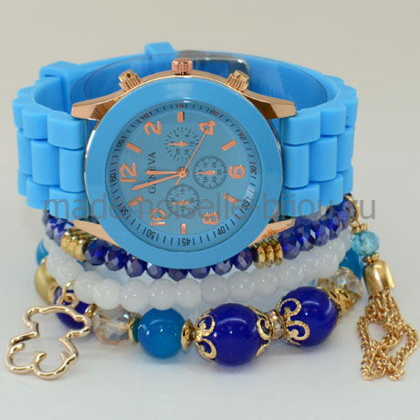 Комплект браслеты с часами Blue II