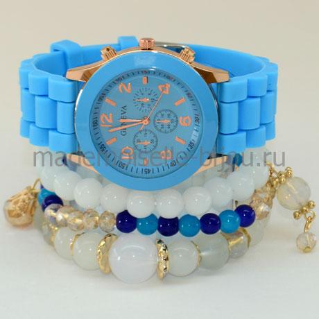 Комплект браслеты с часами Blue Ice