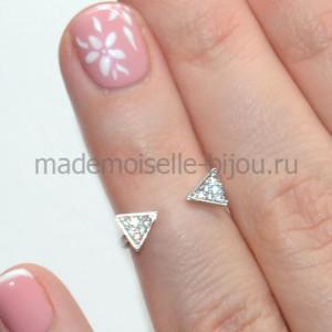 Кольцо на среднюю фалангу с цирконами Triangles
