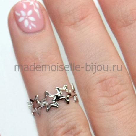Кольцо на вторую фалангу пальца Silver Stars