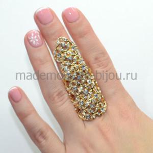 Кольцо на весь палец с цирконами Golden Ivy