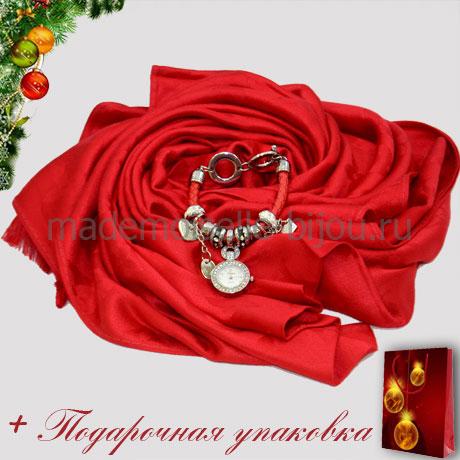Новогодний подарок: НАБОР ПАЛАНТИН LV и ЧАСЫ PANDORA красные