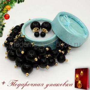Новогодний подарок: НАБОР БРАСЛЕТ и СЕРЬГИ FASHION LUX NOIR GLOW