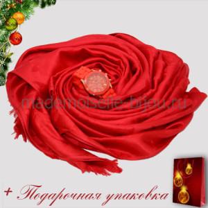 Новогодний подарок: НАБОР ПАЛАНТИН LV и ЧАСЫ GENEVA красный