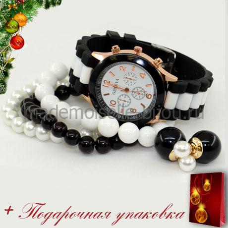 Новогодний подарок: НАБОР ЧАСЫ с БРАСЛЕТАМИ и СЕРЬГИ ШАРИКИ черно-белые DOMINO