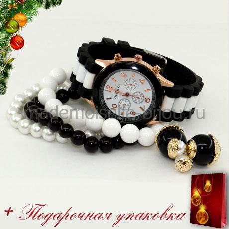 Новогодний подарок: НАБОР ЧАСЫ с БРАСЛЕТАМИ и СЕРЬГИ ШАРИКИ черно-белые DREAM