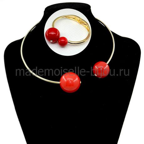 Комплект колье и браслет с красными шарами Mon Cher Scarlet