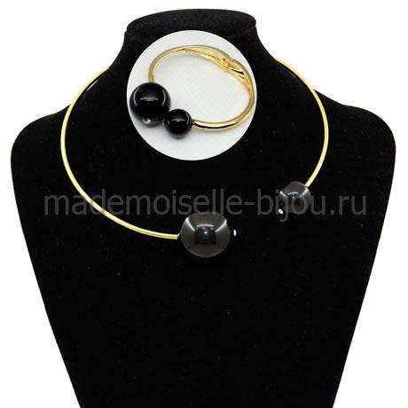 Комплект колье и браслет с черными шарами Mon Cher Noir
