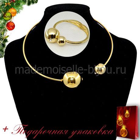 Комплект колье и браслет с золотыми шарами Mon Cher Gold
