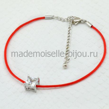 Красная нитка на запястье Cube Crystal