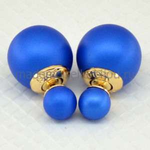 Сережки с двумя шариками синие Fashion Indigo Matt G