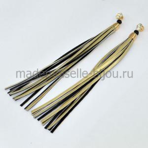Серьги длинные висячие золотые Oscar Grand Gold & Black (17 cm)