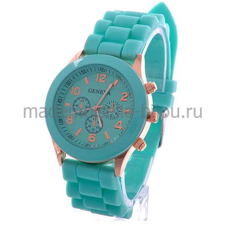 Часы на силиконовом браслете женские Женева Mint