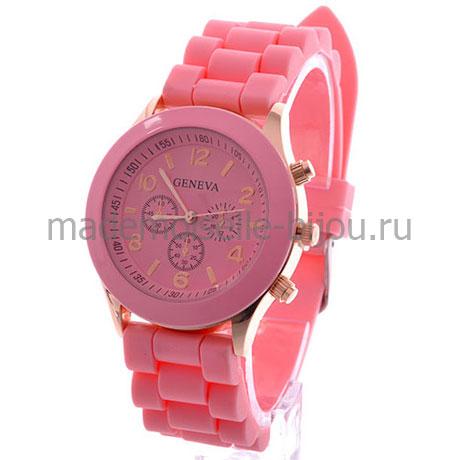 Часы на силиконовом браслете женские Женева Rose