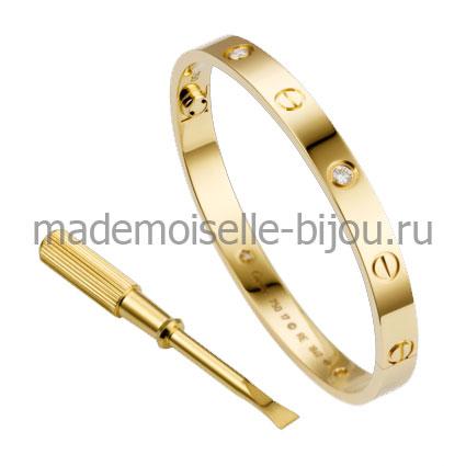 Браслет Cartier Love Gold Premium с отверткой и цирконами желтое золото
