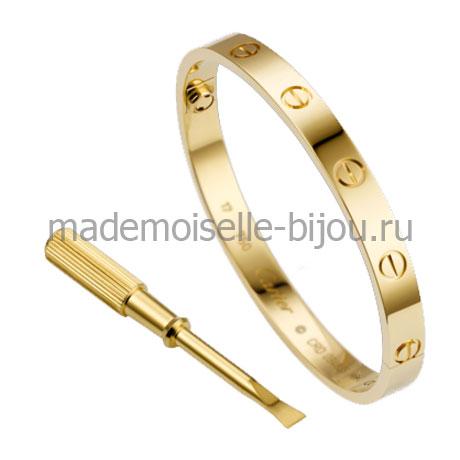 Браслет с отверткой Картье Love Gold Premium желтое золото