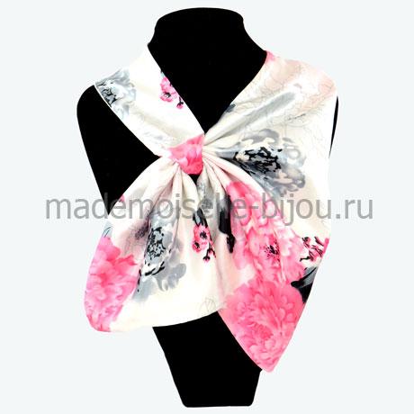 Французский платок бело-розовый Sakura