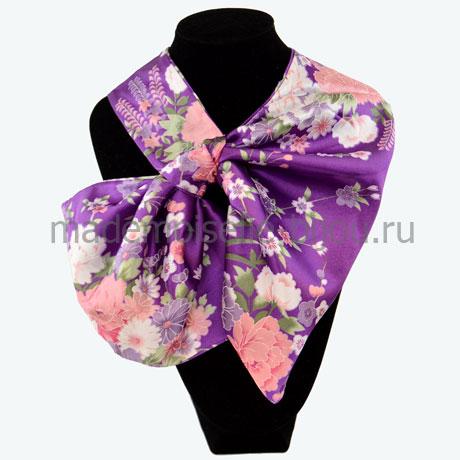 Французский платок с цветочным принтом Purple Fleur