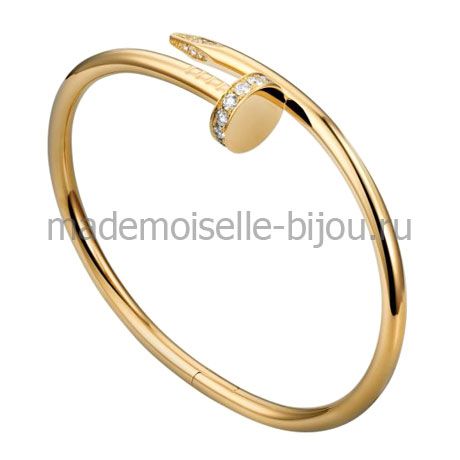 Cartier браслет гвоздь Golden LUX с цирконами зеркального золотого цвета идеально сочетается с серьгами в стиле Диор FASHION GOLD