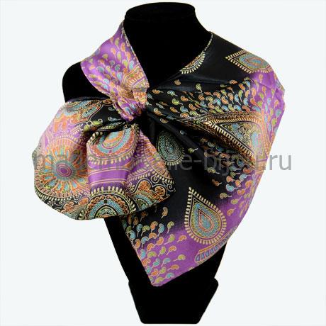 Шейный платок женский черный с лиловым Magic Night