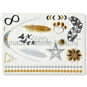 Золотые флеш тату с перьями Flash Tattoo Martlet