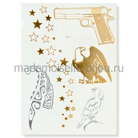 Временное золотое тату с пистолетом Flash Tattoo Beretta 92