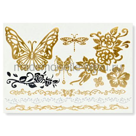 Золотые флеш тату с бабочкой Flash Tattoo Butterfly