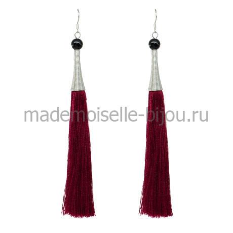Висячие сережки кисточки Oscar Silk Bordo