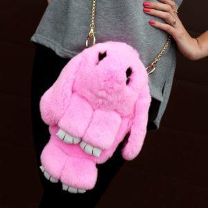Сумка рюкзак из меха кролика