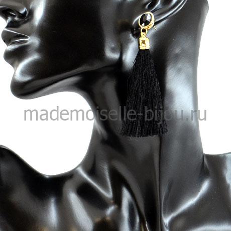 Модные серьги кисти черные