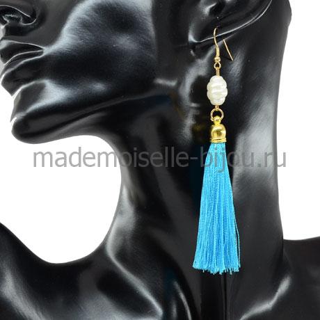 Сережки кисти голубые из ниток Oscar Blue