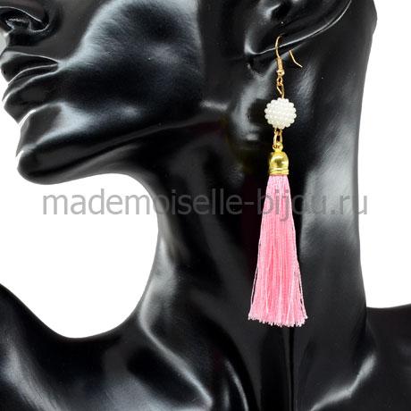 Серьги кисточки розовые из ниточек Oscar Rose