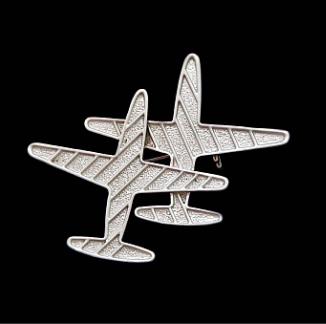 Брошь два самолета под серебро Aeroplane Silver