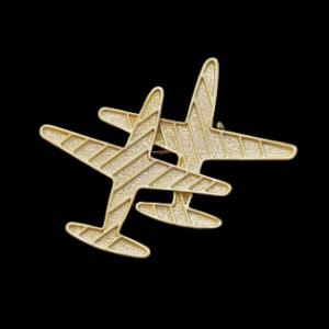 Брошь 2 самолета под золото