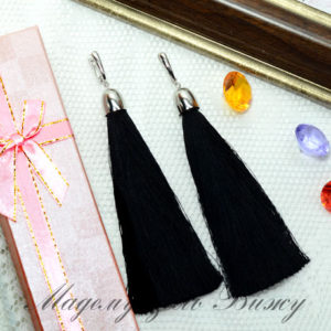 Сережки кисточки черные Oscar Nior LUX Style