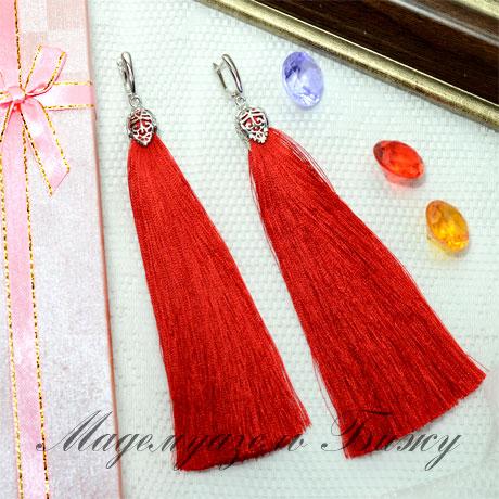 Серьги кисточки красные Oscar Red LUX