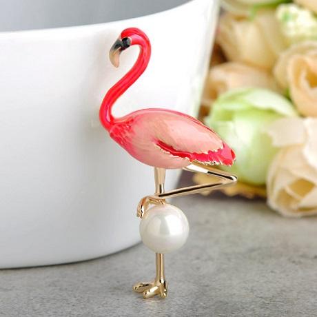 Брошь фламинго розовый Flamingo Rose