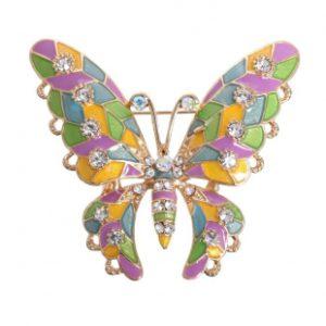 Брошь в виде бабочки Butterfly Enamel Pastel, покрытая эмалью и инкрустирована цирконами.