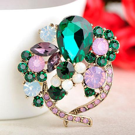 Брошь с зелеными и розовыми кристаллами Boutonniere Green
