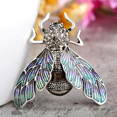 Брошь муха Fly Silver
