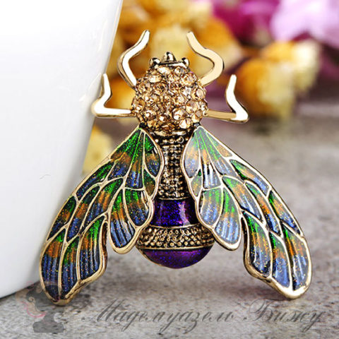 Брошь муха Fly Gold