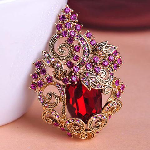 Брошь с рубиновым кристаллом Dragon Scarlet