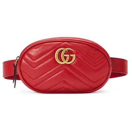 Сумка на пояс GG Marmont красная
