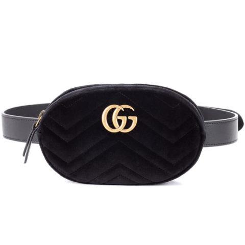 Сумочка на пояс GG Marmont Velvet бархатная черная