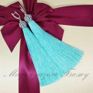 Модные серьги кисточки голубые Oscar Blue LUX