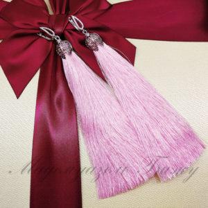 Модные серьги кисти розовые Oscar Rose LUX Leaf