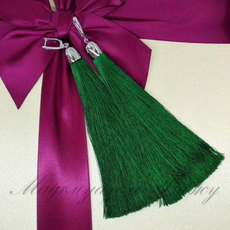 Серьги кисти зеленые Oscar Emerald LUX Style