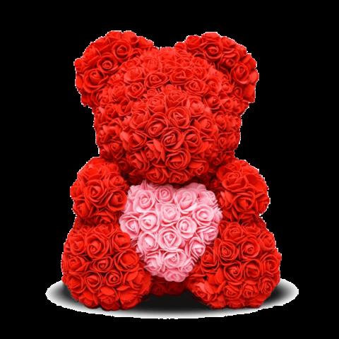 Красный мишка из розочек
