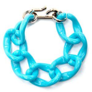 Браслет пластиковый крупная цепь голубой Blue