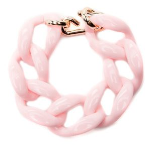 Браслет цепь из акрила розовый